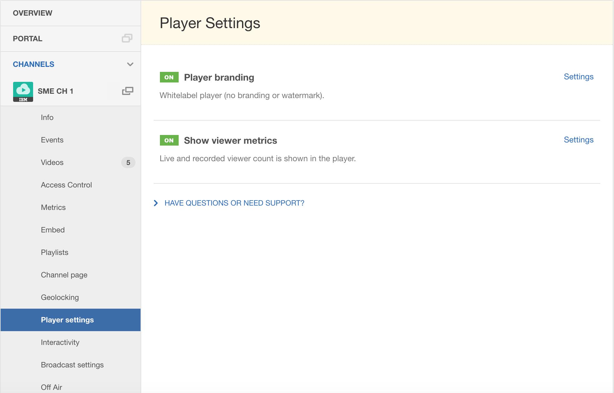 Video Streaming Dashboard - Player Settings – IBM Watson Media