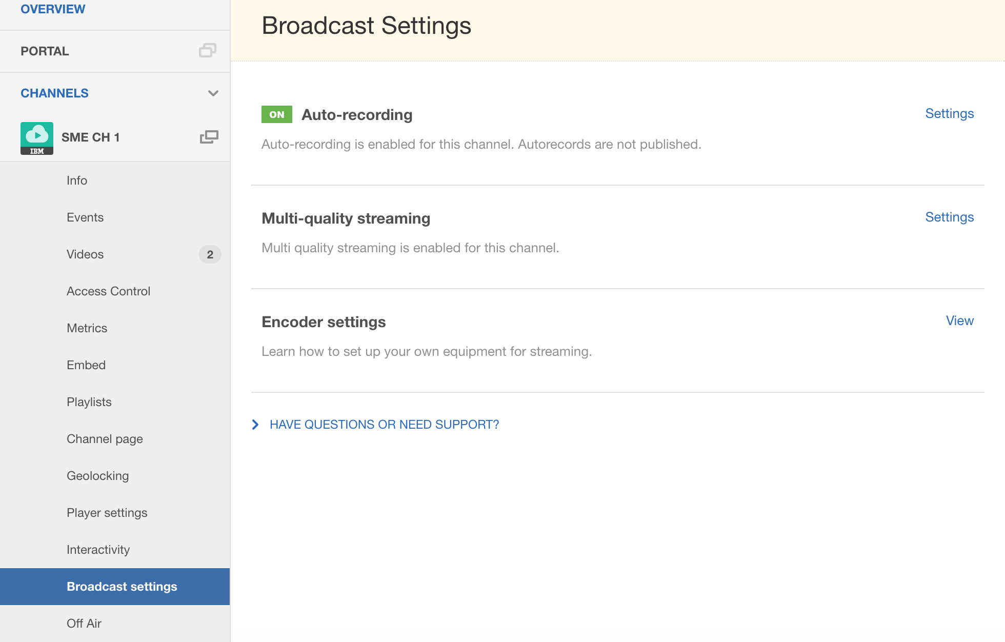 streaming manager for enterprise broadcast settings ibm cloud