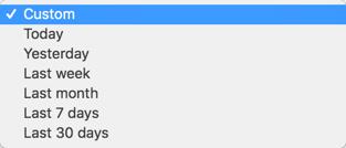 request report page date range dropdown screenshot