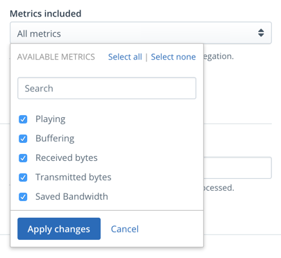 request report page metrics dropdown screenshot